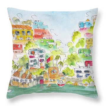 Throw Pillow featuring the painting Manzanillo Coastline by Pat Katz