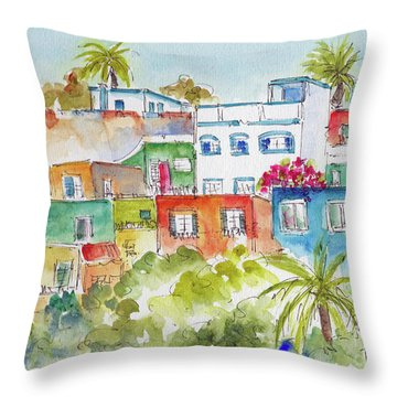 Manzanillo Hillside Throw Pillow