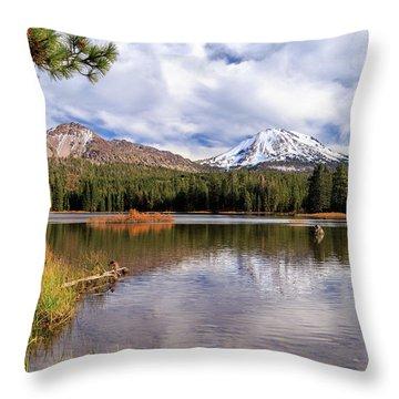 Throw Pillow featuring the photograph Manzanita Lake - Mount Lassen by James Eddy