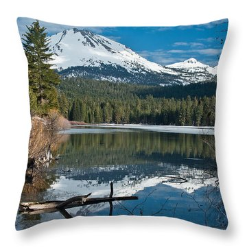 Manzanita Lake Reflects On Mount Lassen Throw Pillow