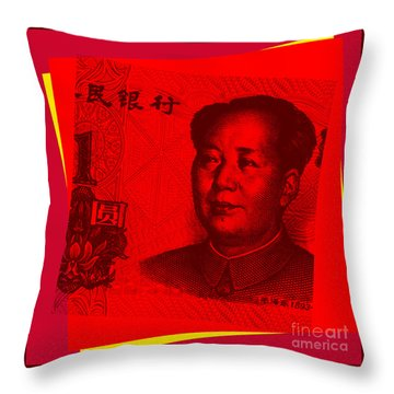 Throw Pillow featuring the digital art Mao Zedong Pop Art - One Yuan Banknote by Jean luc Comperat
