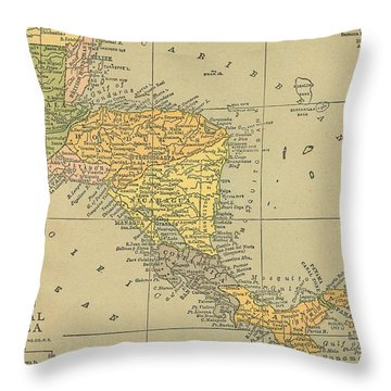 Throw Pillow featuring the digital art Map Central America 1909 by Digital Art Cafe