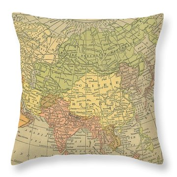 Throw Pillow featuring the drawing Map Europe by Digital Art Cafe