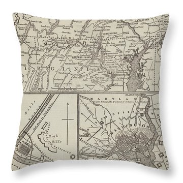 Map Illustrating General Lee's Advance Into Pennsylvania  Throw Pillow