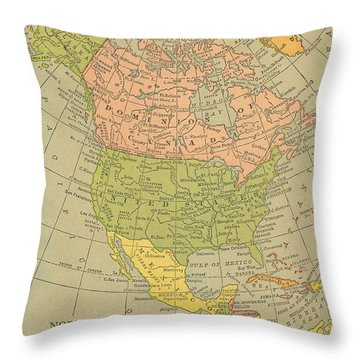 Throw Pillow featuring the drawing Map North America 1909 by Digital Art Cafe