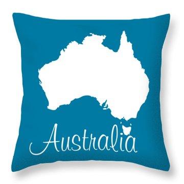 Map Of Australia - White Throw Pillow