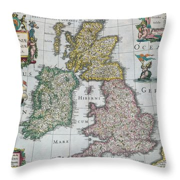 Map Of Britain Throw Pillow by English school