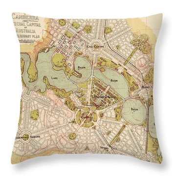 Map Of Canberra 1913 Throw Pillow