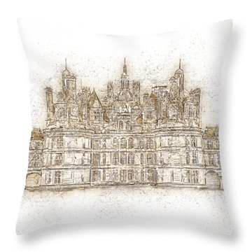 Map Of The Castle Chambord Throw Pillow