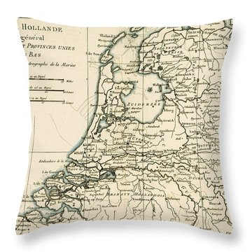 Map Of Holland Including The Seven United Provinces Of The Low Countries Throw Pillow by Guillaume Raynal