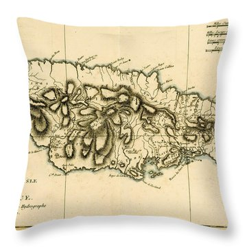 Map Of Jamaica Throw Pillow by Guillaume Raynal