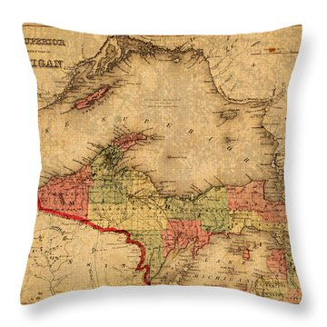 Map Of Michigan Upper Peninsula And Lake Superior Vintage Circa 1873 On Worn Distressed Canvas  Throw Pillow