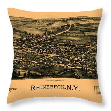 Map Of Rhinebeck 1890 Throw Pillow