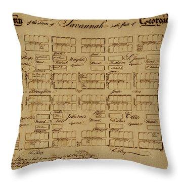 Map Of Savannah 1761 Throw Pillow