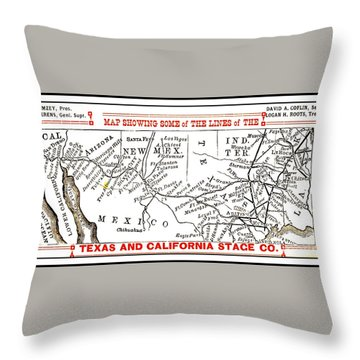Throw Pillow featuring the drawing Map Of Some Of The Lines Of The Texas And California Stage Company Circa 1880s by Peter Gumaer Ogden
