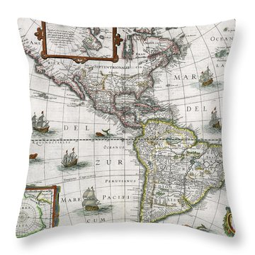 Map Of The Americas Throw Pillow