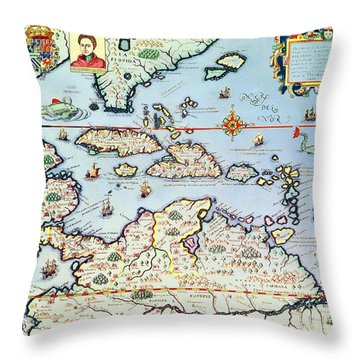 Map Of The Caribbean Islands And The American State Of Florida  Throw Pillow by Theodore de Bry