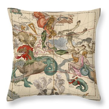 Map Of The Constellations Cetus, Pegasus, Aquarius, Andromeda - Celestial Map - Antique Map Throw Pillow