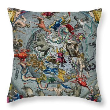 Map Of The Constellations Of The Northern Hemisphere Throw Pillow by Andreas Cellarius