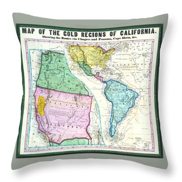 Map Of The Gold Regions Of California Throw Pillow