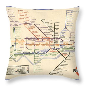 Map Of The London Underground - London Metro - 1933 - Historical Map Throw Pillow