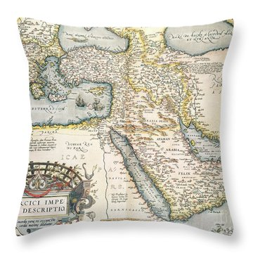 Map Of The Middle East From The Sixteenth Century Throw Pillow by Abraham Ortelius