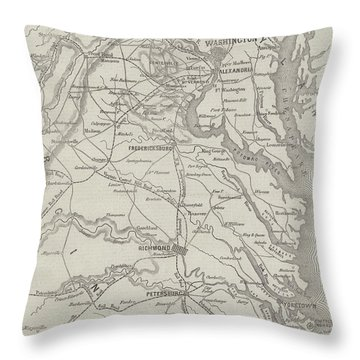 Map Of The Seat Of War In Virginia, 31st August 1861 Throw Pillow