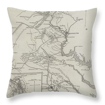 Map Of The Seat Of War In Virginia Throw Pillow
