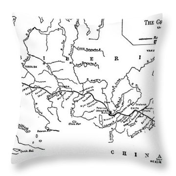 Map Of The Trans-siberian Railway Throw Pillow