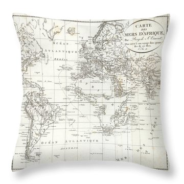 Throw Pillow featuring the drawing Map Of The Voyage To Explore Islands In The Seas Of Africa by J B Bory de Saint-Vincent