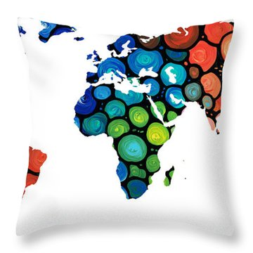 Map Of The World 1 -colorful Abstract Art Throw Pillow
