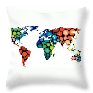 Map Of The World 1 -colorful Abstract Art Throw Pillow by Sharon Cummings