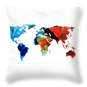 Throw Pillow featuring the painting Map Of The World 3 -colorful Abstract Art by Sharon Cummings