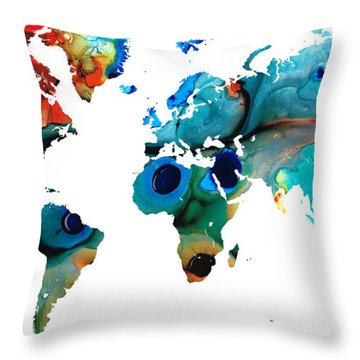 Map Of The World 6 -colorful Abstract Art Throw Pillow