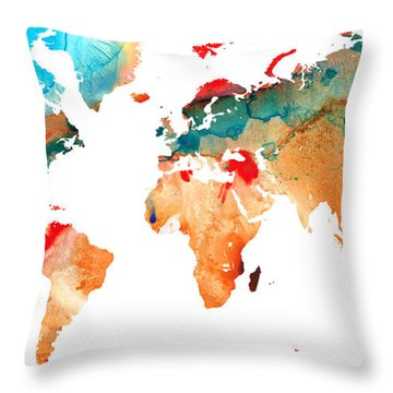 Map Of The World 7 -colorful Abstract Art Throw Pillow
