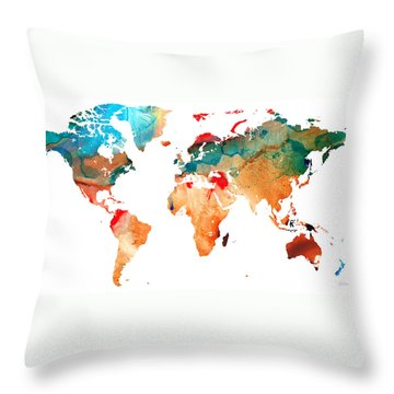 Map Of The World 7 -colorful Abstract Art Throw Pillow by Sharon Cummings