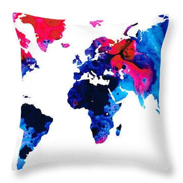 Map Of The World 9 -colorful Abstract Art Throw Pillow