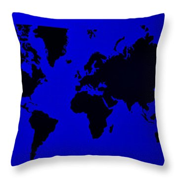 Throw Pillow featuring the photograph Map Of The World Blue by Rob Hans
