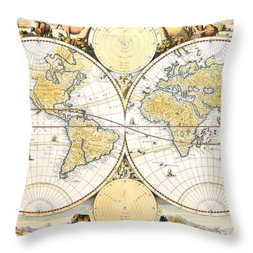 Map Of The World Throw Pillow by Daniel Stoopendaal