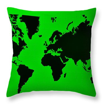 Throw Pillow featuring the photograph Map Of The World Green by Rob Hans