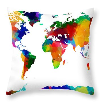 Map Of The World Map Painting Throw Pillow