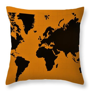 Throw Pillow featuring the photograph Map Of The World Orange by Rob Hans
