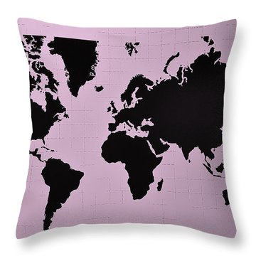 Throw Pillow featuring the photograph Map Of The World Pink by Rob Hans