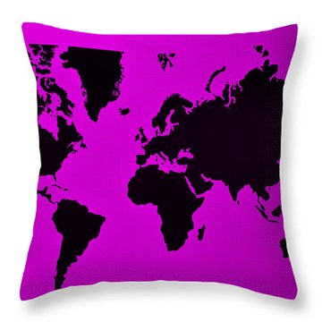 Throw Pillow featuring the photograph Map Of The World Purple by Rob Hans