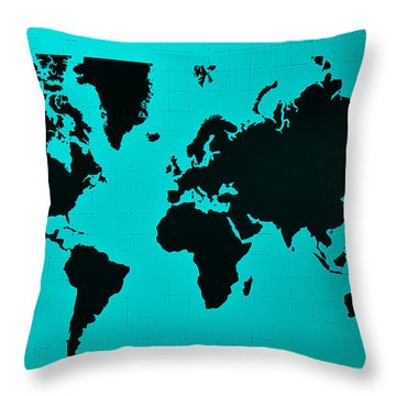Throw Pillow featuring the photograph Map Of The World Turquoise by Rob Hans