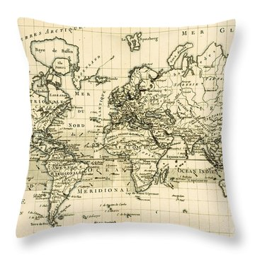 Map Of The World Using The Mercator Projection Throw Pillow by Guillaume Raynal