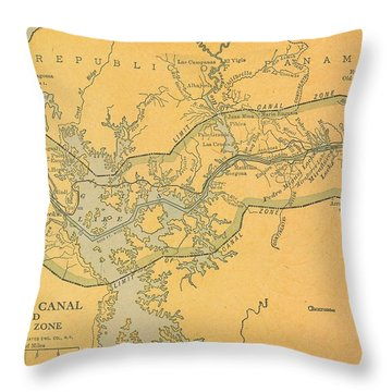 Throw Pillow featuring the drawing Map Panana Canal 1909 by Digital Art Cafe