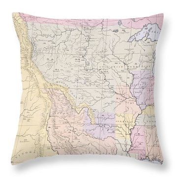 Map Showing The Localities Of The Indian Tribes Of The Us In 1833 Throw Pillow
