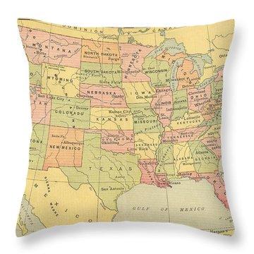 Map Usa 1909 Throw Pillow