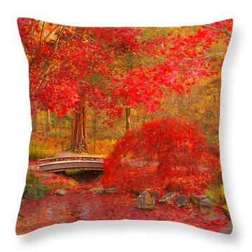 Throw Pillow featuring the photograph Maple Bridge by Geraldine DeBoer